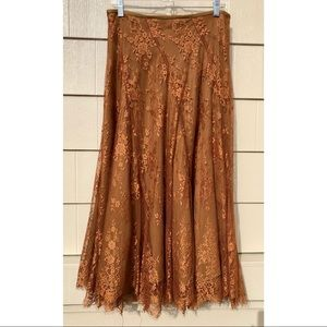 Soft Surroundings Copper Rust Lace Maxi Skirt